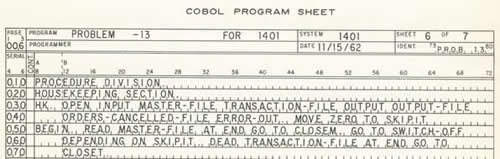 Portion of a COBOL program sheet.